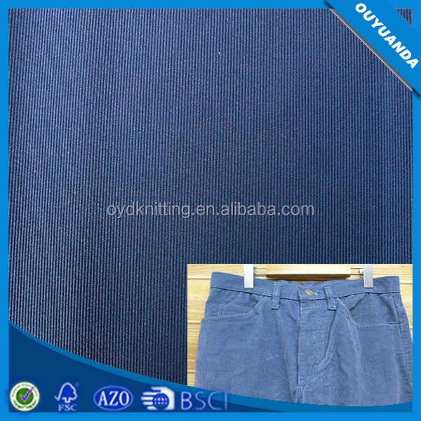 Factory Direct Striped Polyester Corduroy Fabrics /Blue