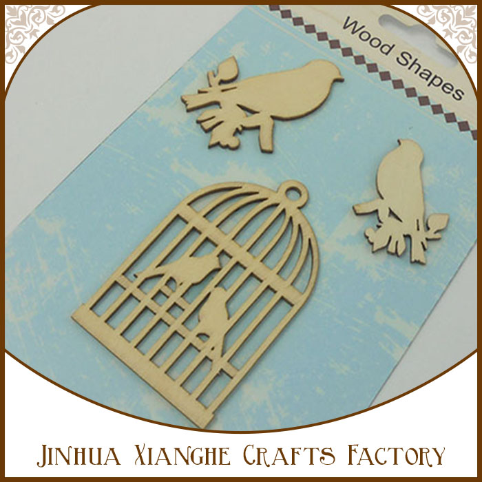 2016 top selling new design of animal laser cut wood shapes/ small wood crafts bird house/