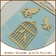 top selling new design of animal laser cut wood shapes/ small wood crafts bird house/