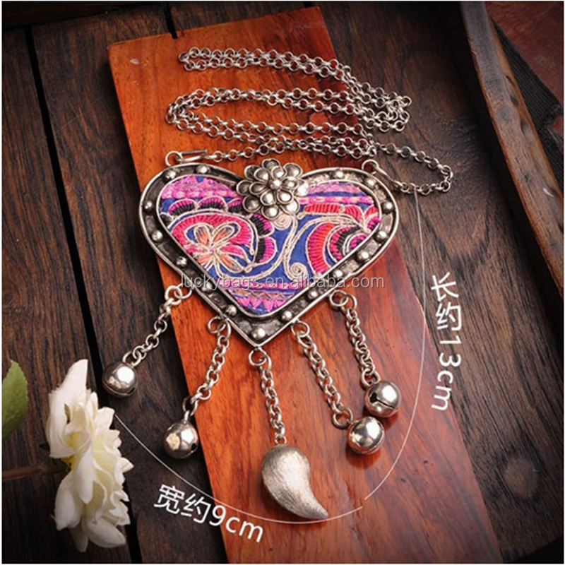 wholesale fashion woman necklace hmong jewelry heart shape charm long link sweater chain