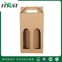 Low Price Paper Double Bottles Wine Box, Double Bottles Wine corrugated paper box, Strong recycled paper wine cylinder box
