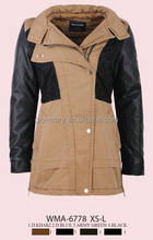 Glo-story Women cotton jacket Women long cotton coat leather sleeve