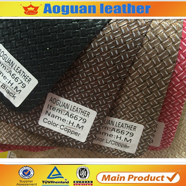 Newest weave design footware artifical leather for summer sandals and ladies shoes A6679