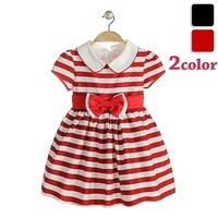 baby girl party dress children frocks designs stripe frock princess collar dress red&white stripe dress for girls