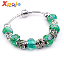 Wholesale romantic European style snake chain glass beads Bracelet jewelry