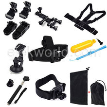 10-in-1 Chest Strap+Head Strap+Wrist Straps+Mounts+Monopod+Suction Cup+Floaty Grip+Pouch for GoPros He ro 4/3+/3/2/1