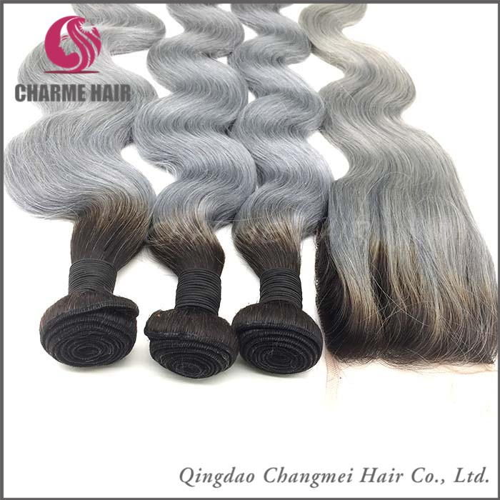Top Quality 100% Unprocessed Natural Straight Grey Human Hair Weaving