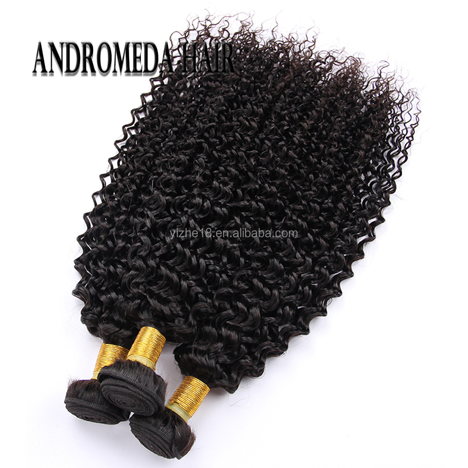 7A Human Hair Extensions Malaysian Human Hair Weave Kinky Curly Weave 100% Remy Hair Natural Black Color