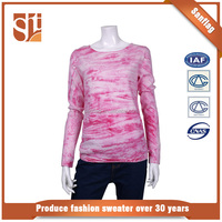 Custom latest design knit 100% cotton lady sweater for Autumn with competitive price