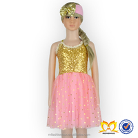 2016 Newest Fashion Design Shiny Star Dress And Headband Set Frock Design Sequin Dress For Baby Picture Dress Up Game For Girls