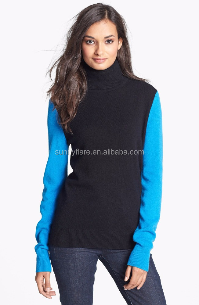 Hot Selling Pop Colorblock Women Pure Cashmere Sweater