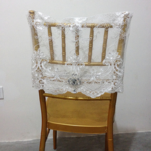 Graceful White Lace Fabric Cover Chair Wedding