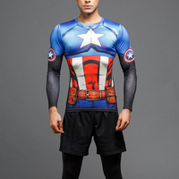 Avengers United States Captain Super Hero Clothing Apparel Men's Running Tights Spandex Slim 3D Printing t shirt