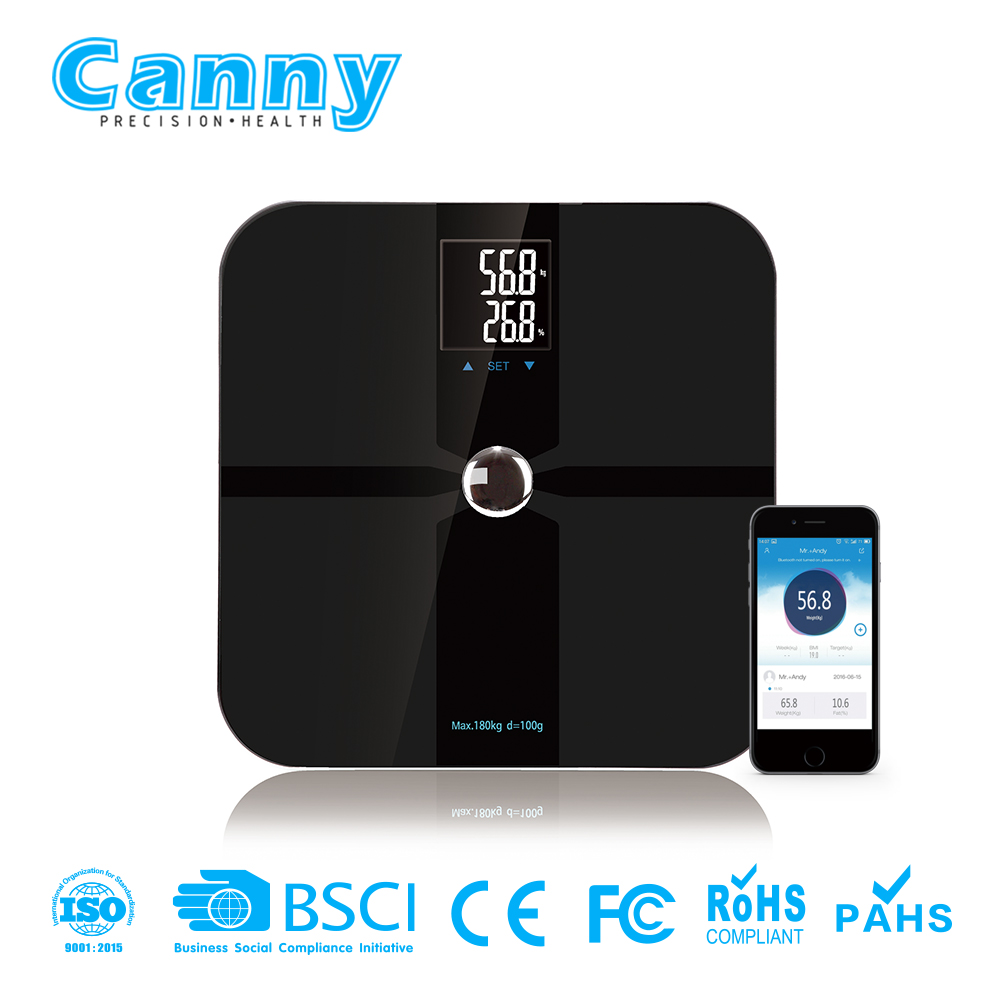 free app ITO glass bluetooth scale weighing digital scale body fat bathroom scale