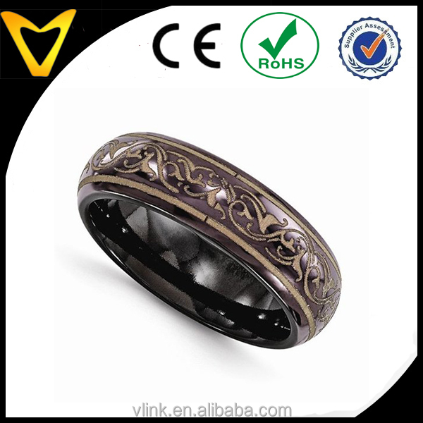 Alibaba USA Hot Seller Titanium Ring Wedding Bands For Men, Top Quality Black Titanium Copper Color Anodized 6mm Wedding Band