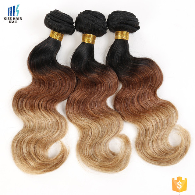 Wholesale Virgin Peruvian Sew in Human Hair Weave Ombre Hair