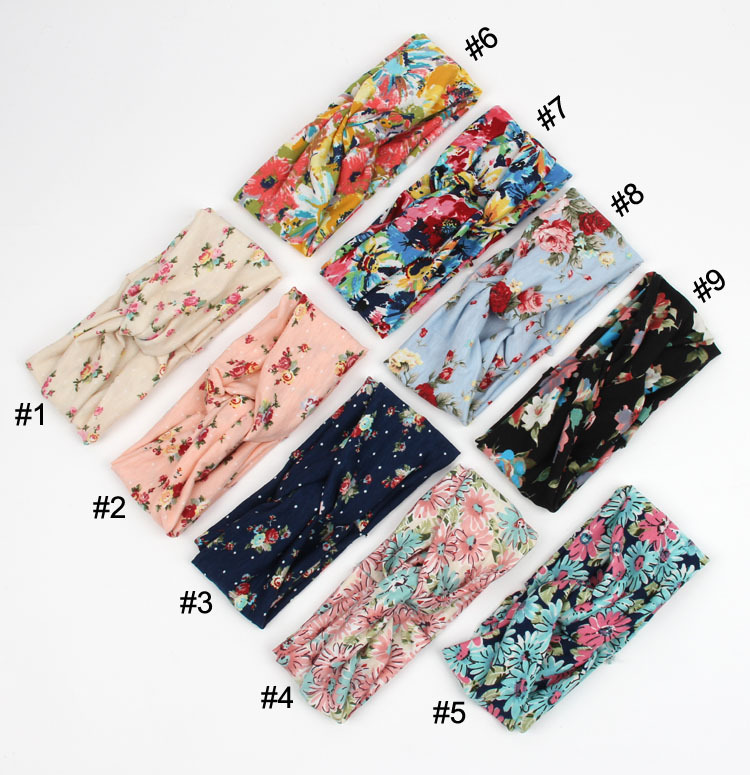 decorations cross floral women girl scrunchy headband hair elastic band turban headband wrap headdress cotton floral headbands
