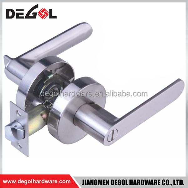 High end zinc alloy tubular privacy bathroom lever 64mm door handle and lock