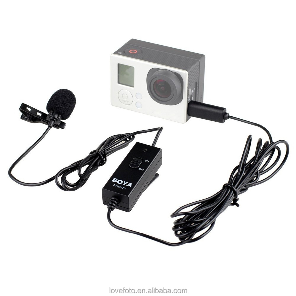 BOYA BY-GM10 Microphones Pro Omni-directional Audio Lavalier Microphone with 8m Signal Wire for HD Hero4 3+ 3 Camera