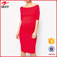 Red Knee Length Pretty Wholesale Maternity Clothing