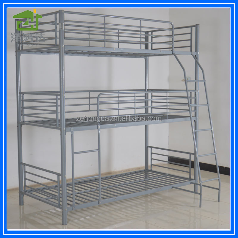 high quality home dormitory steel hostel beds 3 layer 3 sleepers triple metal bunk bed