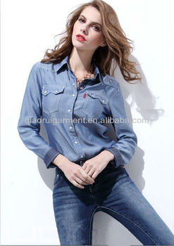 latest trendy 100%cotton washed denim casual shirts for women/ladies with spread collar and two pockets