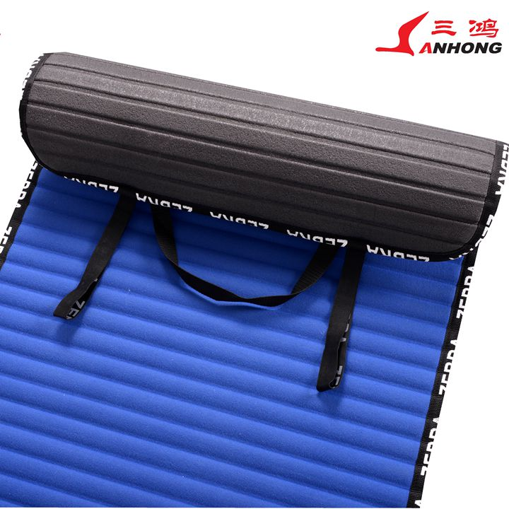 Professional self-inflating camping sleeping pad with two eslatic band inflatable mat with CE certificate