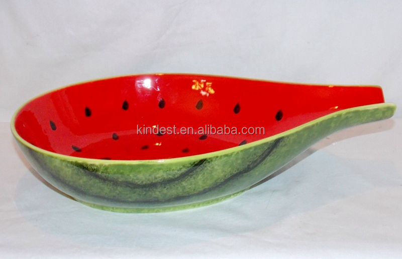 "Wholesales 14"" Seeded Watermelon Design stoneware Fruit Serving Bowl Tray Dish"