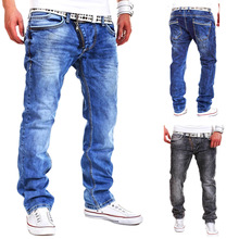 2017 autumn and winter Europe and United States casual mens Zipper decoration soild color tide jeans