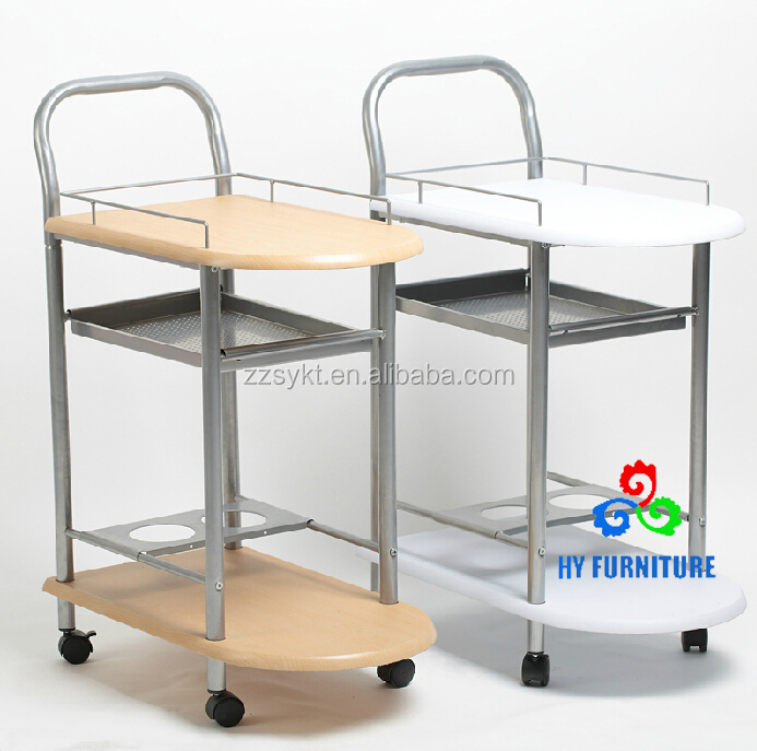 Mobile kitchen cart steel pipe frame wooden tray food service trolley with wheels