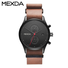 Oem best selling 5 atm water resistant stainless steel Genuine Leather watch men for sale