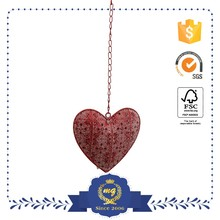 Red Hollow Carved Creaft Metal Hanging Heart Decoration