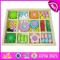 Hot Sale DIY Kids wooden toy game beads,Colorfull Loose Toy Wood Beads,Kids Wooden string Beads Education Toy W11E018