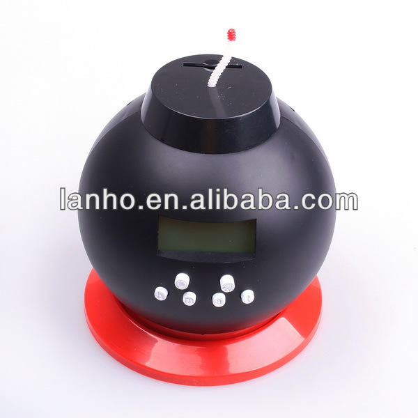 Multifunction Vibrating Bomb Alarm Clock Coin Counting Saving Pot Bank