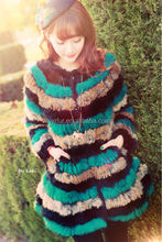 YR797 Top Quality Wool with Rabbit Fur Decoration Coat/Women Witner Heavy Coat