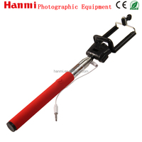 Orange red colourful holder digital camera and mobile phone use wired selfie stick handheld