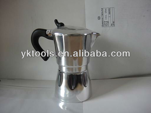 6 cups aluminum moka coffee maker with glass window KPE-WD-SN600