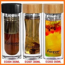 Wholesale customizable manufacturer sale borosilicate glass bamboo cap tea water bottle