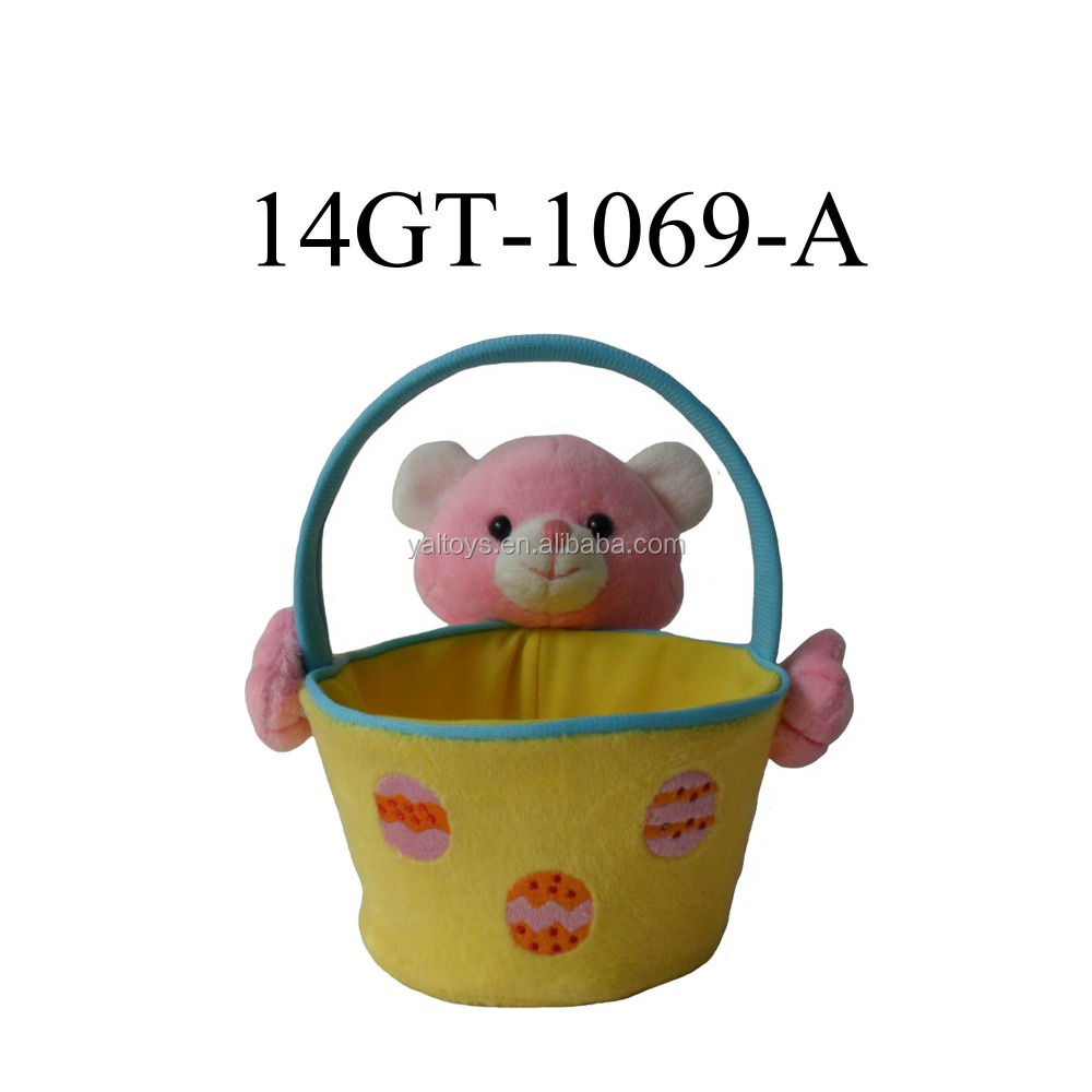 Plush Candy / Sweety basket of pink bear for easter day!