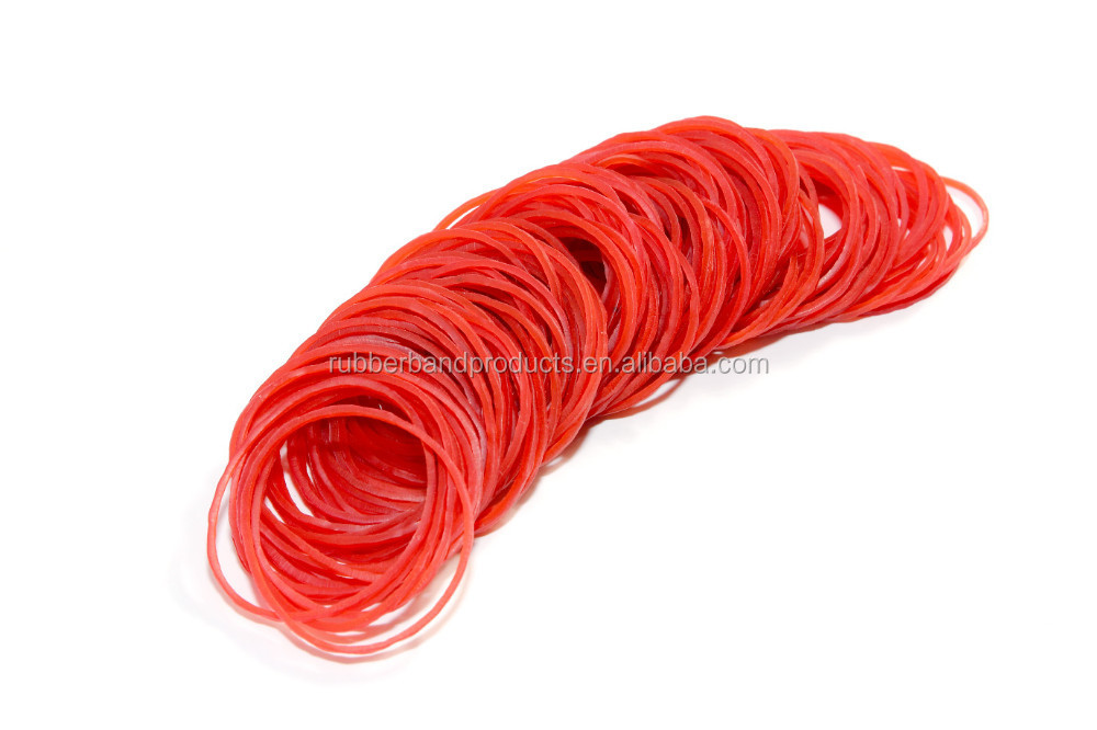Size 16 Transparent Red color Natural Rubber Bands For Money