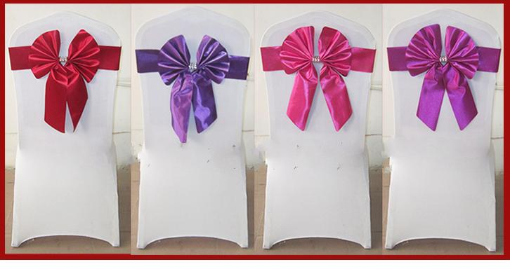 taffeta sash for wedding chair,fancy lycra chair bands wedding chair cover at factory price
