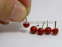 Kawaii Miniature Fresh Red Cherries scale 1/6 (Barbies size) fruit model,