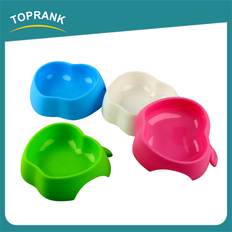 Custom color personalized fancy cute apple shaped plastic pet dog bowl
