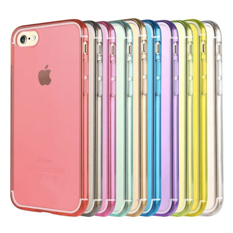 10 Colors Flexible Back Cover For IPhone 7 Clear Transparent TPU Case