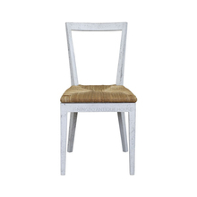 Modern classic French Antique reproduction minimalist furniture white and brown solid wood dining chair