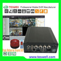 3G realtime GPS google map tracking 4CH mobile cctv system dvr with SOS panic button for urgent alarm