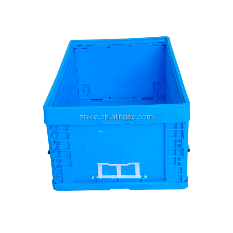 53L capacity heavy duty straight wall foldable plastic storage crates and boxes