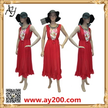 Wholesale Ladies Modern Casual Sleevesless Long Dress Fashion Printed Red Dress