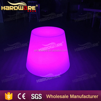 multi-colored led round glass top table used bar