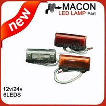 Led lights trucks, red white led side marker lights for trucks, 12V 24V truck lighting led
